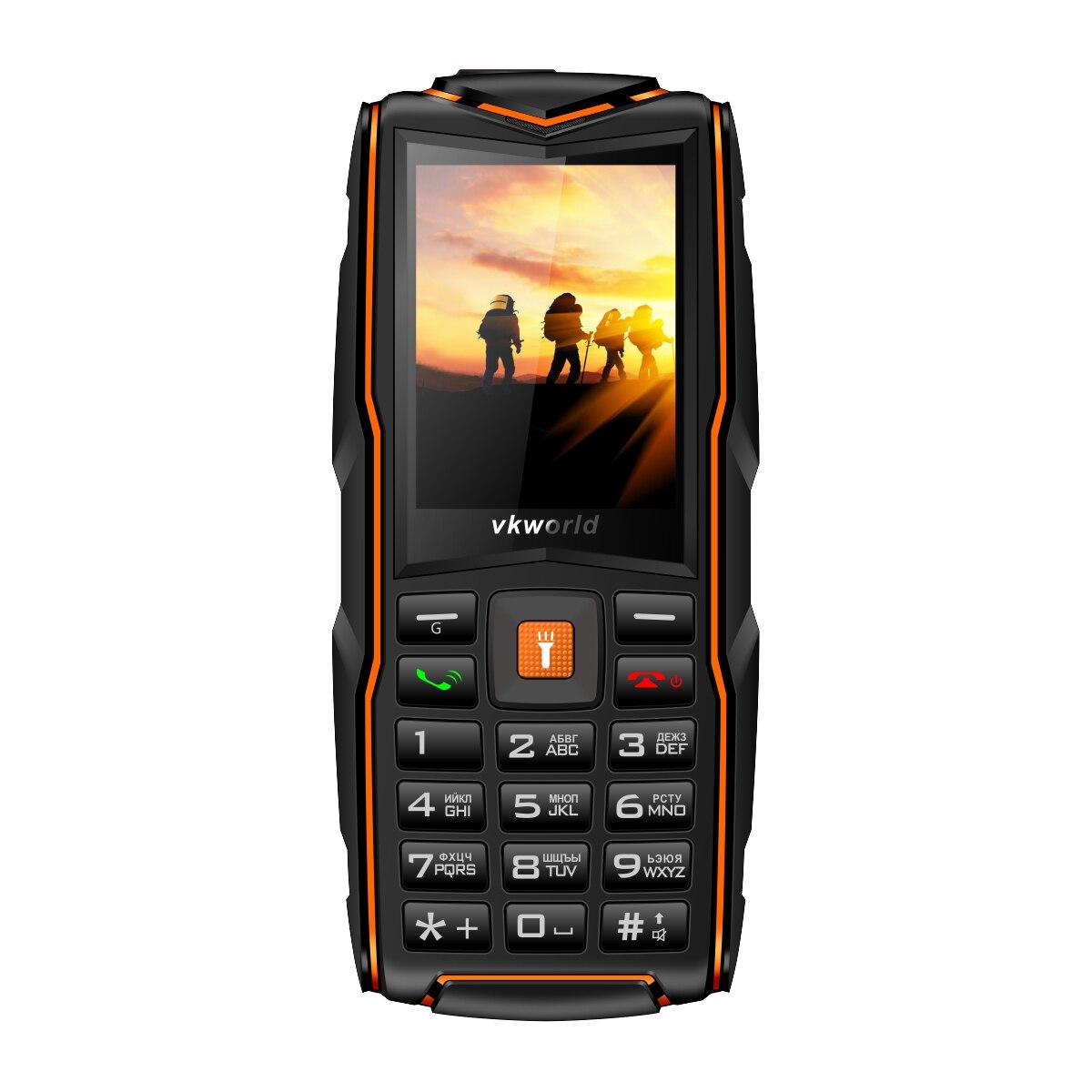 Russe Clavier VKworld Nouvelle Pierre V3 Mobile Téléphone IP68 Étanche Vedette Téléphone 2.4 pouce FM 3 SIM Carte LED Lumière GSM Téléphone