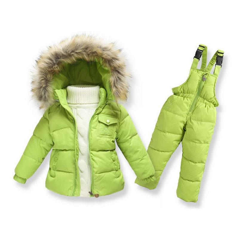 US $43.13 21% OFF|Kinderen Winter Kleding set Jongens Skipak Meisje Donsjack Jas + Jumpsuit Set 1 6 Jaar Kids Kleding Voor Baby BoyMeisje in