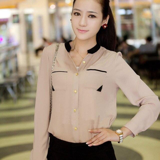 db18333355 2016 moda feminina blusa dourada botão manga longa chiffon ocasional blusa  camisa blusa de frio feminina