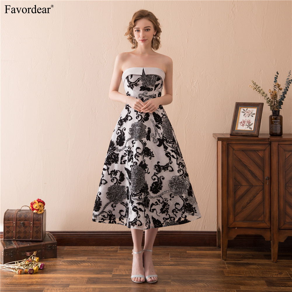 Funky Mother Of The Bride Outfits: Favordear New Arrival Black Formal Dress Strapless Tea
