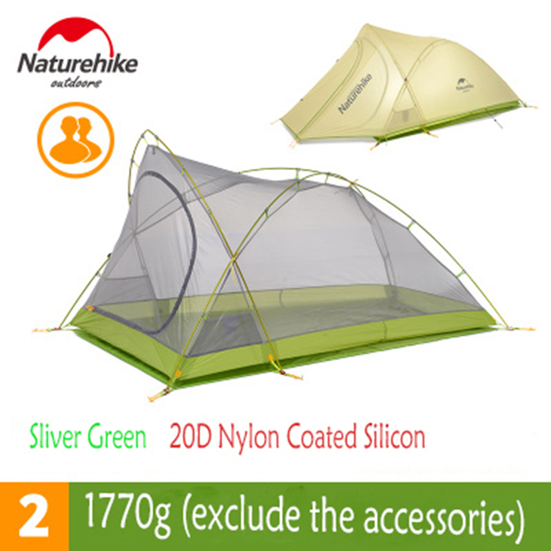 Naturehike 20D Nylon Outdoor Camping Tents 2 Person One Bedroom Waterproof Double Layer Gear Picnic Tents Lightweight Fok 1770g naturehike new arrival tent camping 2 person waterproof double layer outdoors camping durable gear picnic tents green grey