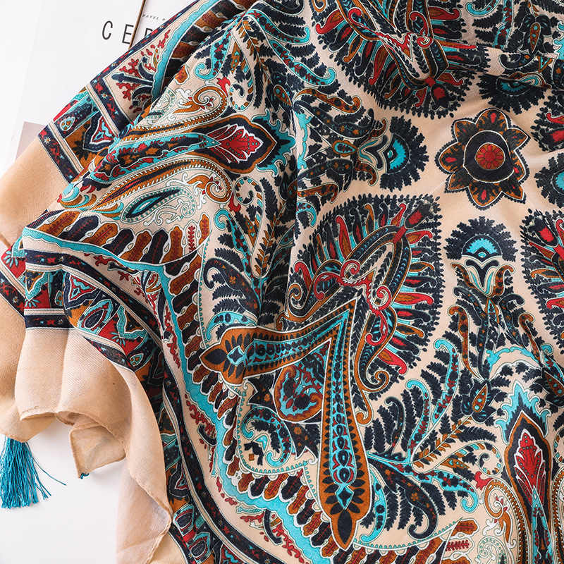 Etnis Wanita Syal Besar Lembut Totem Cetak Selendang Panjang Wanita Fashion Leher Syal Selimut Bayi Pashmina Baru [6602]
