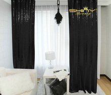 2pc Sequin Curtain-3x8ft, Shimmer Sequin Fabric Photography,Sparkle Sequin Curtains Backdrop Background-Black Decoration-a