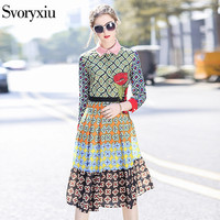 SVORYXIU 2018 Newest Runway Designer Vintage Dress Women S High Quality Fine Flowers Embroidery Pleated Casual