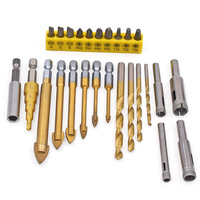 26Pcs Titanium Coated Drill Bit Set Tungsten Carbide Glass 1/4 Hex Shank Power Tools Accessories Bit Drill