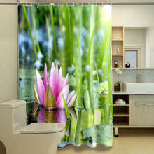 Harmonious Nature 3D Shower Curtains Lotus Bamboo and Stone Bathroom Curtain Waterproof Thickened Bath Curtain Customizable все цены