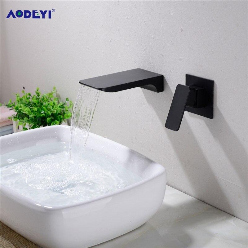 Robinet de lavabo mural en laiton cascade, robinet d'évier noir ou chromé, mitigeur d'eau chaude et froide dissimulé de salle de bains 12-078