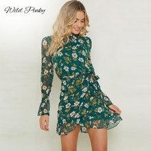 WildPinky 2019 Women A-Line Bohemian Print Dress Ruffles Casual High Waist Boho O-Neck Long Sleeve Chiffon Vestidos
