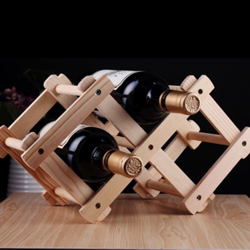Wood Folding Wine Whisky Holder New Brand Classical Wooden Red Wine Rack Fit for 3 Bottle Mount Holder Kitchen Bar Display Shelf