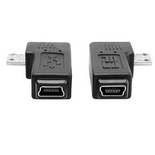 90 degree right + left angled MINI USB Female to MICRO Male Data sypc power Adapter Free Shipping