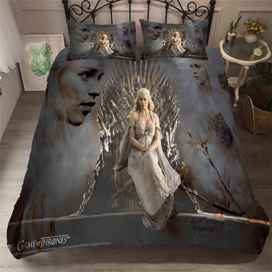 HELENGILI 3D Bedding Set Game Of Thrones Print Duvet Cover Set Bedcloth With Pillowcase Bed Set Home Textiles #GOT-63