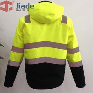 Image 4 - Высокая видимость Защитная куртка бомбер оранжевый Зимняя Светоотражающая водонепроницаемая куртка Рабочая одежда размера плюс
