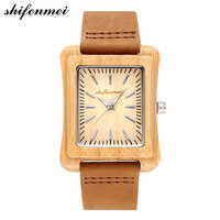Rectangle Watches Retro Wood Watches Men High Quality Brand Designer Couples Watch Leather Causal Quartz Men Women 2018