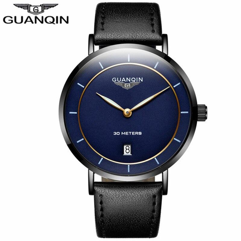 где купить Mens Watches Top Brand Luxury GUANQIN Thin Watch Men Sapphire Quartz Leather Waterproof Male Wrist Watches relogio masculino по лучшей цене