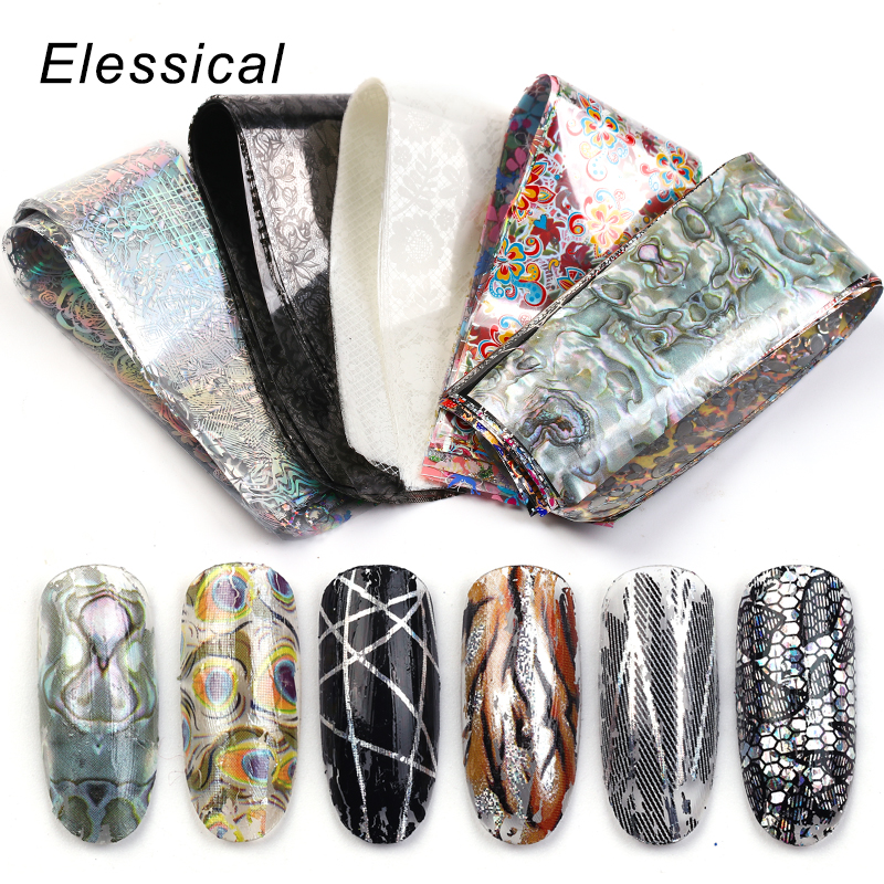 Elessical 18pcs 4*20cm Nail Art Foil Transfer Stickers Decoration For Nails Design Decal Manicure New Fashion Nail Sliders Set