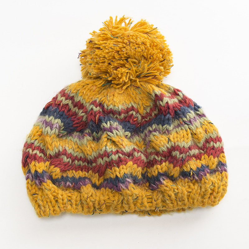Women Warm Ball Cap PomPoms Multicolors Striped Thick Knitted   Skullies     Beanies   Hat KS-shipping
