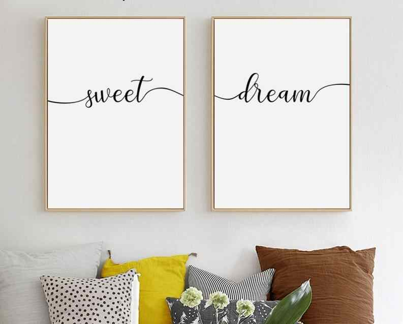Simple Black And White Sweet Dream Phrase Canvas Painting Poster And Print Living Room Bedroom Wall Art Picture Home Unframed