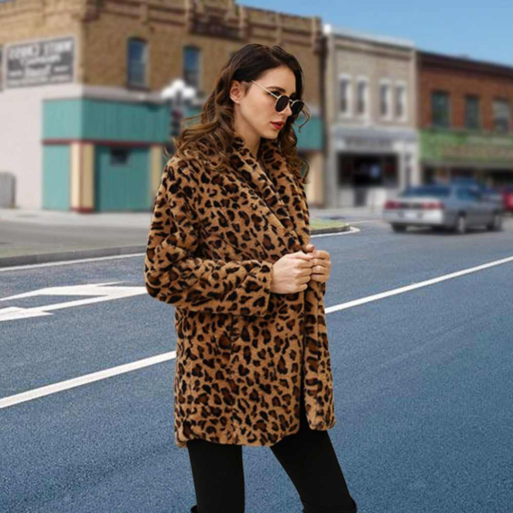 2fd74fbbd68 ... 2018 Luxury Faux Fur Leopard Artificial Fur Coat rabbit fur coat Female  Jacket Comfortable Women S Winter ...