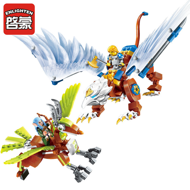 Enlighten Building Block War of Glory Castle Knights LORD OF SKY 2 Figures 290pcs Educational Bricks Toy Boy Gift enlighten 2314 war of glory castle knights shop model building block 368pcs educational toys for children compatible legoe