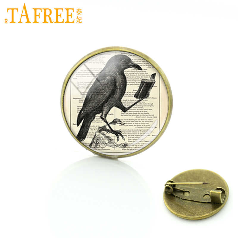 TAFREE Vintage glass cabochon raven crow brooch pins antique owl birds badge jewelry butterfly brooches gifts for men C655