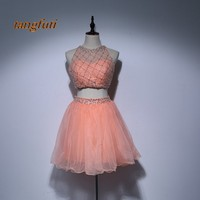 Luxury Short Homecoming Dresses 2018 Cheap With Crystals Beaded Tulle Mini Graduation Dress Party Gowns Cocktail