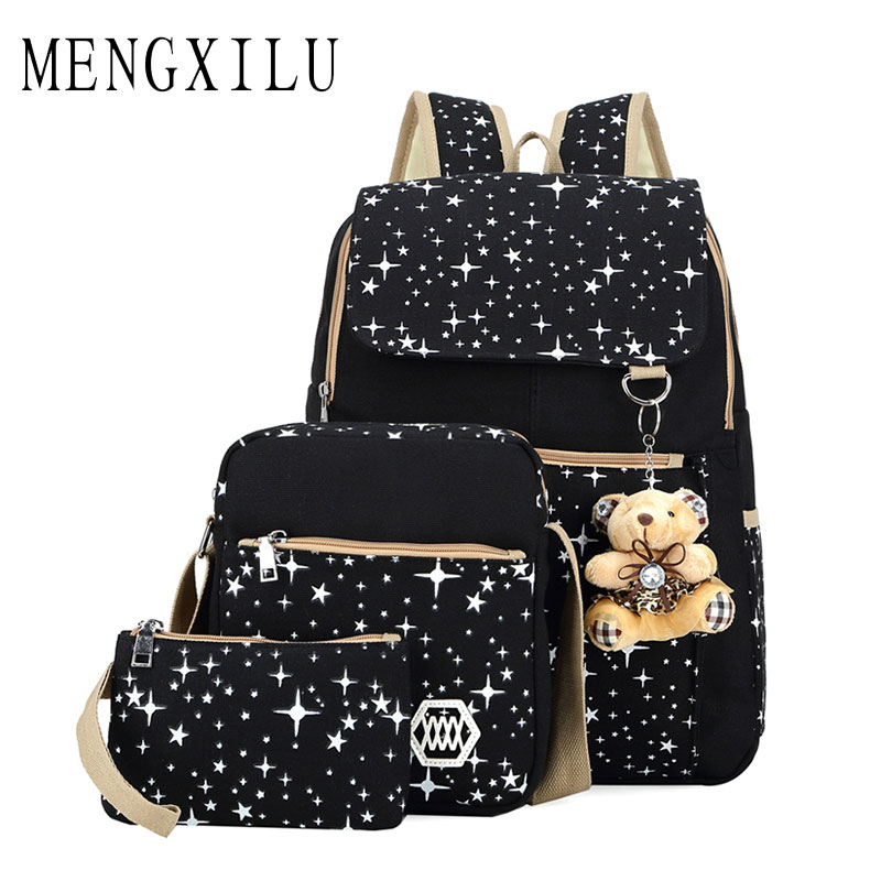 Large Capacity School Bags for Teenagers Girls Ladies Dot Bear Backpack 3 Set Star Women Shoulder Bag Canvas Backpack Rucksack kaukko large capacity shoulder bag mens traval canvas backpack unisex bags for teenager school knapsacks