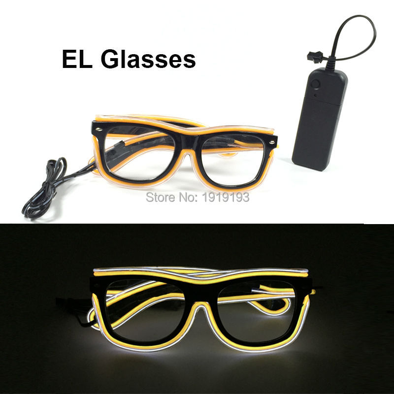 Newest Design Lovely Colorful LED Strip Sunglasses Holiday Lighting EL Wire Double Color Eyewear for Wedding,Party Decoration