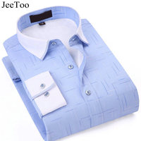 JeeToo 2017 Mens Shirts Long Sleeve Striped Print Mens Casual Shirts Hight Quality Plus Size Striped