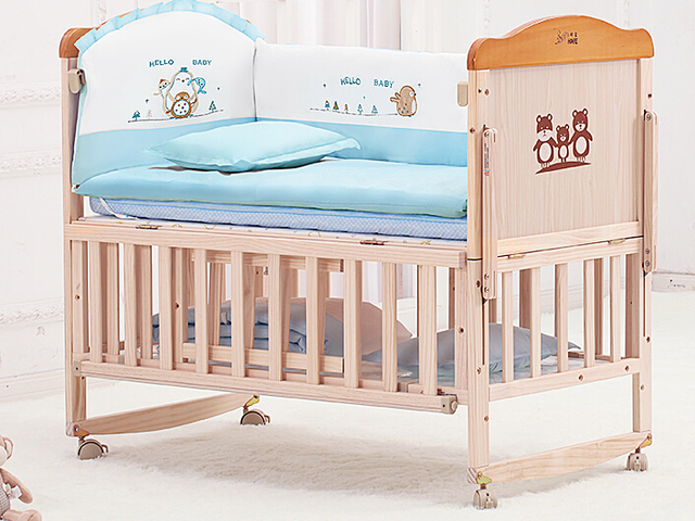 Crib wood green children bed. Multifunctional BB bed. Baby bed variable desk. Game bed. With mosquito nets