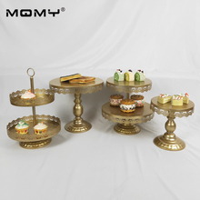 New Style 4 Pcs Wedding Cupcake Gold Tray Dessert Metal Crystal 3 Tire Cake Stand