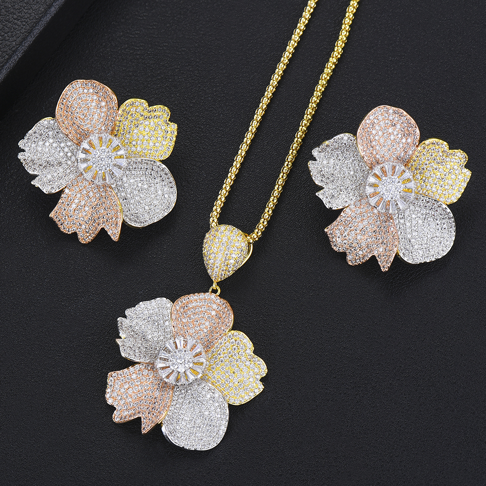 SisCathy Luxury Exclusive Cubic Zirconia Necklace Earring 3 Tone Flower Luxury Women Wedding Naija Bridal Dubai High Jewelry Set
