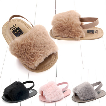 Baby Girl Sandals Summer Soft hair style Classic Breathable Fur Shoes Simple Elastic Princess shoes Solid