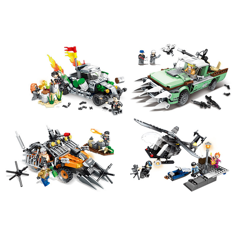 4pc lot 1053pcs Children s building blocks toy Compatible city Black Hawk Special Forces Special Police