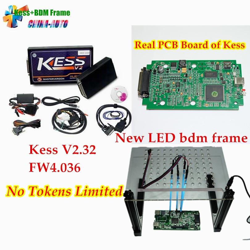 DHL Gratuit!! KESS V2 V2.32 V6.070 ECU Programmation + LED BDM Cadre Nouveau avec 4 Sonde Stylos Aucun Jeton Limité ECU Chip Tunning Outil