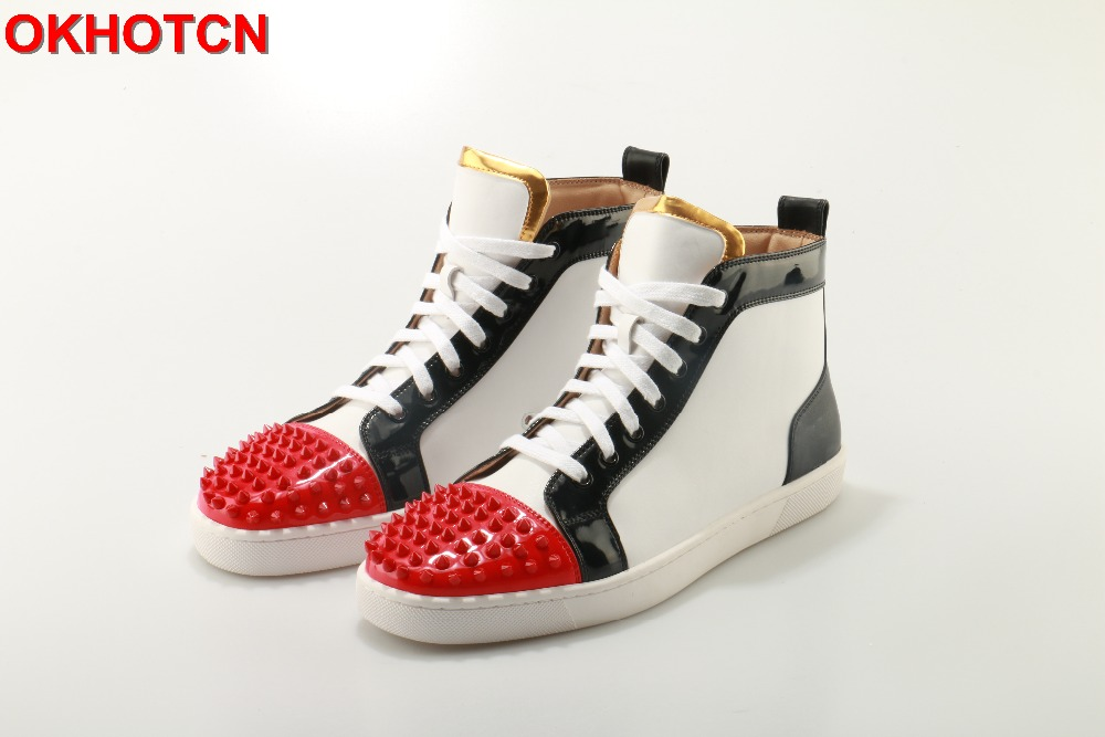 OKHOTCN Outdoors Chaussure Homme Fashion Men Shoes Brand Flats Lace Up White Black Red Mix Colors Spike Studs Rivet Casual Shoes цены онлайн