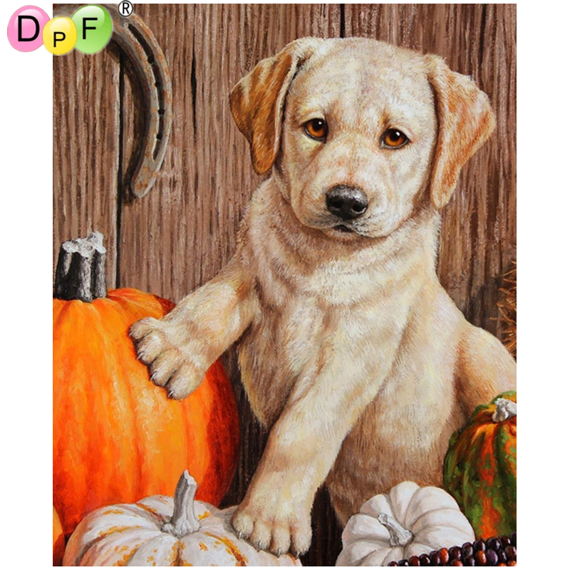 DPF 3D Diamond Embroidery Farm dog Diamond Painting Cross Stitch Square diamond Mosaic kit Needlework home Decor picture image