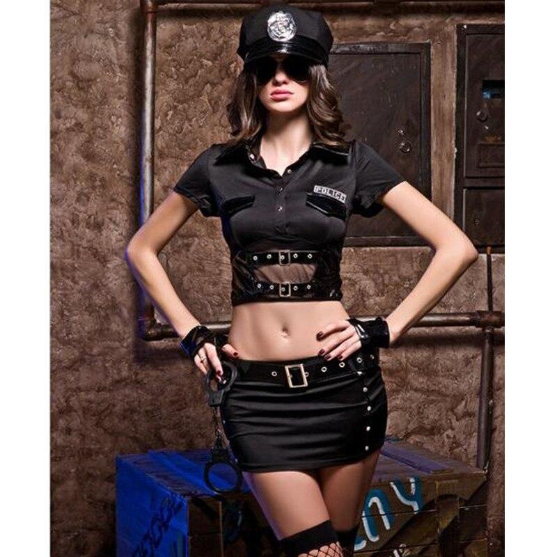 Nouvelles Dames Police Fantaisie Halloween Costume Sexy Cop Outfit Femme Cosplay Sexy Lingerie Érotique Costumes de Police pour les Femmes 9611