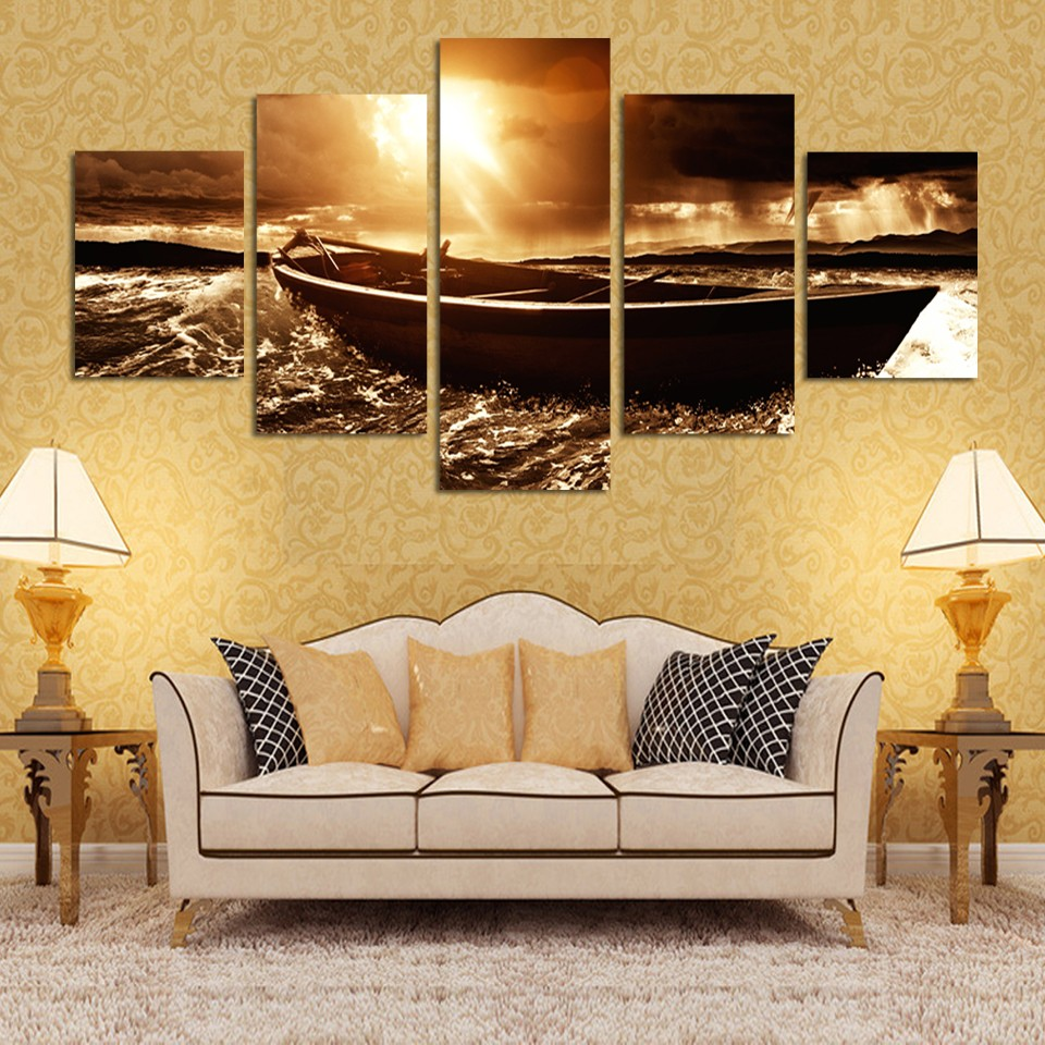 5 2017 Piece Seascape Sea Boat Sunset Painting Modern Home Living ...