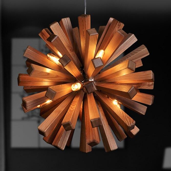 simple style cr atif lustre en bois massif dans le salon. Black Bedroom Furniture Sets. Home Design Ideas
