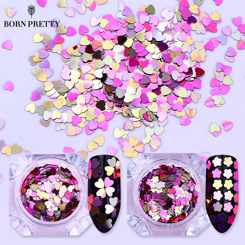 BORN PRETTY 1 Box Gradient AB Color Nail Sequins Heart Flower Glitter Flakes Nail Art Decoration Manicure DIY Tips monja 48 jar mix style nail art rhinestones beads glitter powder sequins flakes stickers 3d design decoration