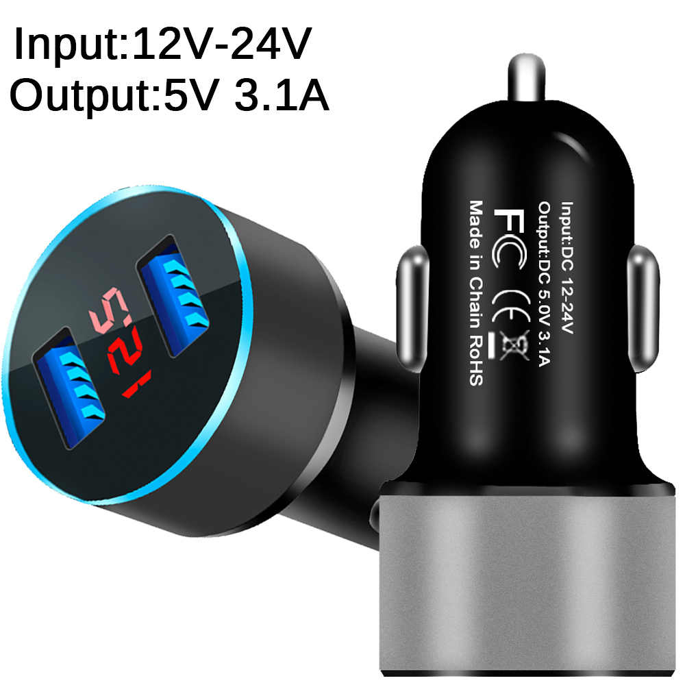 Universal Dual Usb Car Charger 5V 3.1A With LED Display Phone Car-Charger for Xiaomi Samsung S8 iPhone X 8 Plus Tablet etc