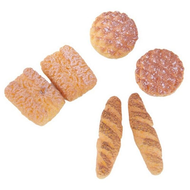 6Pcs/set 1:12 Bakery Bread Kitchen FoodItems Miniature Vintage Accessories For Dollhouse Mini Artificial Bread, Color: Golden