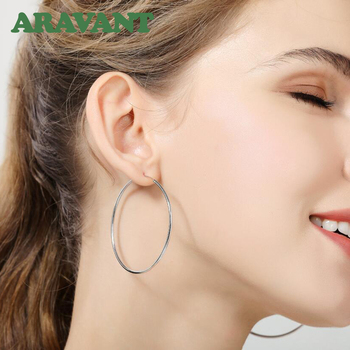 100% 925 Sterling Silver Hoop Earring For Women 50MM Big Round Circle Earrings Jewelry Gift 3