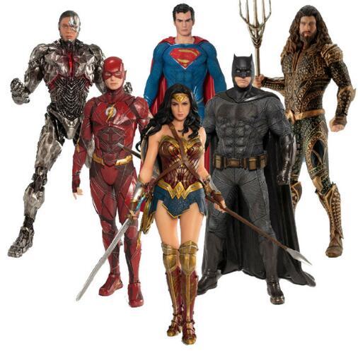 Movie DC Justice League The Flash Cyborg Aquaman Wonder Woman Batman Superman Action Figures Model Toy Doll Statue Figurine