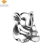 WYBEADS Silver Plated Charms Lucky Elephant European Charm Beads Fit Snake Chain Bracelet Bangle DIY Original Jewelry Making