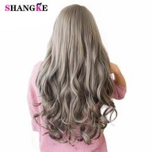SHANGKE 26 długie faliste kolorowe włosy peruki żaroodporne peruki syntetyczne dla białych kobiet naturalne kobiece kawałki włosów 7 kolorów