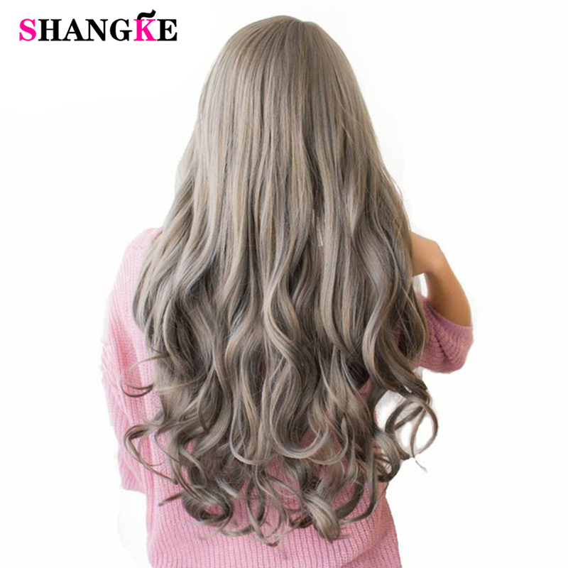 SHANGKE 26 ''pelucas de pelo de color ondulado largo resistentes al calor pelucas sintéticas para mujeres blancas piezas de cabello Natural femenino 7 colores