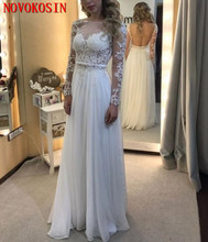 Top See Through White Lace Appliqued Wedding Dress 2019 A Line Long Sleeves Backless Tulle Bridal Gown