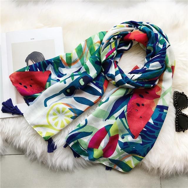fc9fa29337c7 Océan Tropical Vents Coton Gland Écharpe Viscose Châle Femmes Ethnique  Imprimer Wrap Musulman Hijab Solaire Pashmina