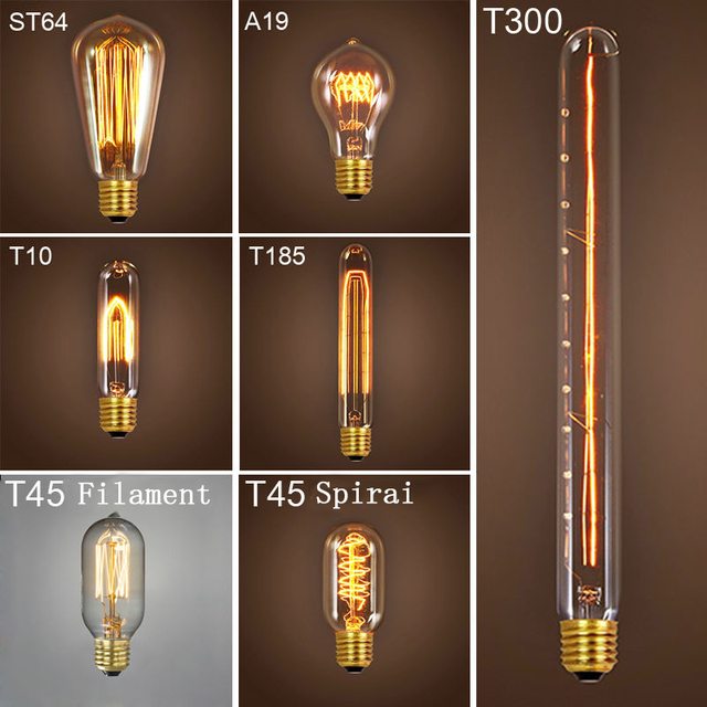 Vintage Edison bombilla de luz 220 V E27 ST64 Retro Luz lámpara bombillas incandescentes iluminación interior ampolla de decoración